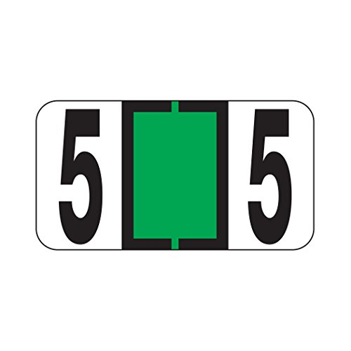 AMZfiling Numeric Labels- Number 5, Light Green, Reynolds & Reynolds RF Compatible (Polylaminated, 500/Roll)