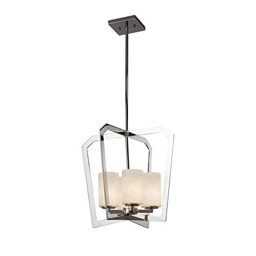 Justice Design Group Lighting CLD-8014-10-CROM Aria 4-Light Chandelier-Polished Chrome Finish with Clouds Cylinder with Flat Rim - Aria Chandelier 10 Light