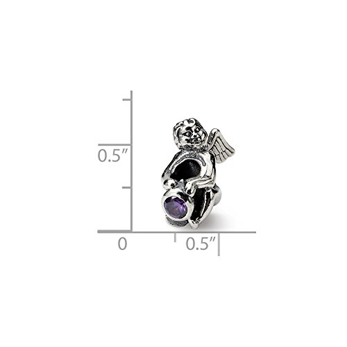 - Solid .925 Sterling Silver Reflections February CZ Antiqued Bead 16.36 mm