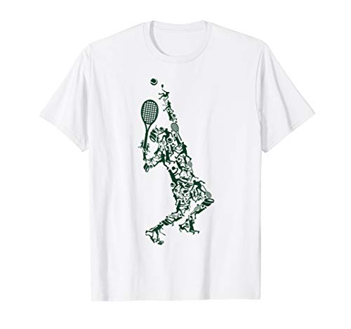 Tennis T Shirt - Player Positions Balls Racket in drawing
