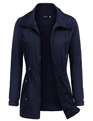 FISOUL Raincoats Women's Waterproof Lightweight Rain Jacket Outdoor Hooded Trench Navy Blue XL ()