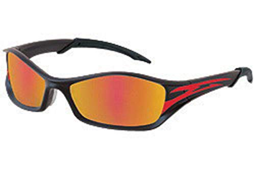 Crews Tribal Safety Glasses With Graphite-Red Tattoo Polycarbonate Frame, Fire Mirror Polycarbonate Duramass Anti-Scratch Lens And Black Temple Sleeve-1 Each