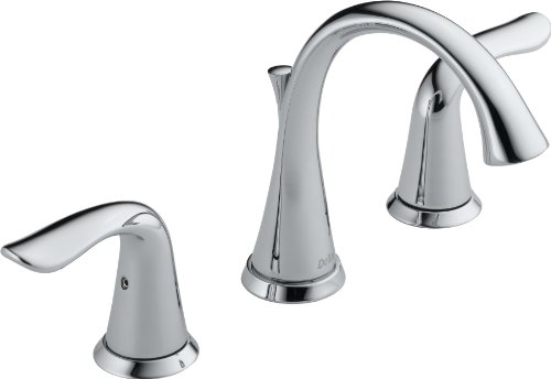Delta 3538-MPU-DST Lahara 2-Handle Widespread Bathroom Faucet with Diamond Seal Technology and Metal Drain Assembly, Chrome (Widespread Assembly Spout)