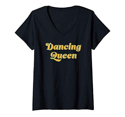 Womens Dancing Queen 70's Retro Vintage Disco Party Classics V-Neck T-Shirt]()