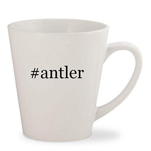 #antler - White Hashtag 12oz Ceramic Latte Mug Cup (Elk Chandelier 12 Antler)