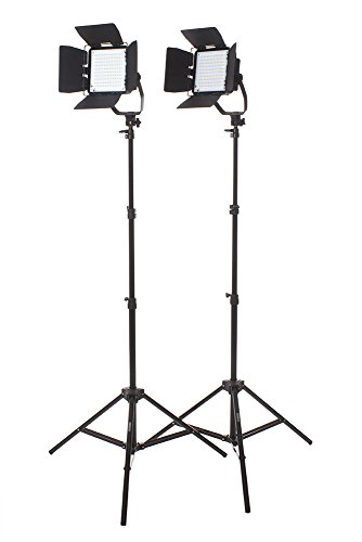 StudioPRO Photography Studio Premium 2 Spot Daylight LED Rectangle Panels with Barndoors Two Light Stand Kit for Interview, Portrait, Product by StudioPRO