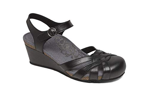 Aetrex Lindsay Womens Leather Closed Toe Wedges - Black - 37 (US - Black Shoes Aetrex