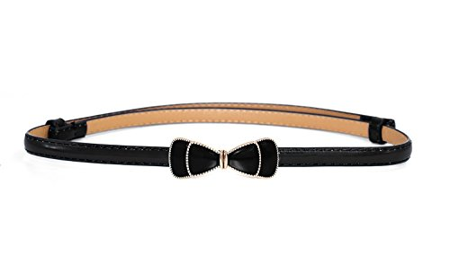 - Women Slim Waist Belt with Cute Bowknot in Solid Colors (black)