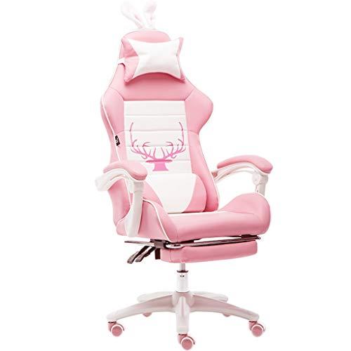 E-Sports for sillas de oficina en casa Juegos de chicas asiento deportivo for sillas de Racing Rosa principal Vive ordenador Silla Muchacha linda con Rosa reposapies almohada almohada lumbar y masaje