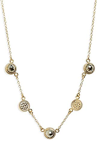 (Anna Beck Designs 18k Gold-Plated Multi-Stone Station Collar Necklace 16-18, Gold/Pyrite)