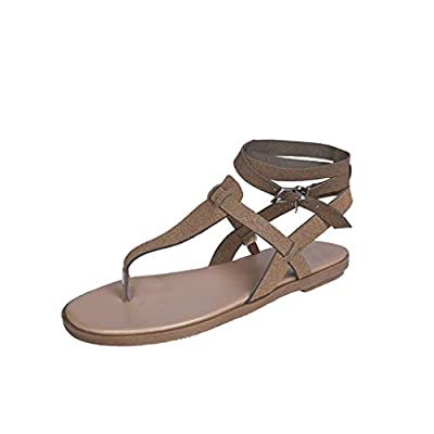 RAINED-Fashion Women Flat Sandals Large Size Casual Roman Shoes Braided Ankle Strap Buckle Tong Sandal