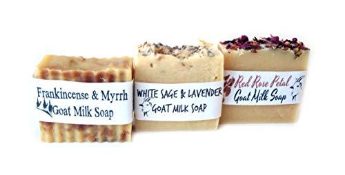 All Natural Goat Goat's Milk Bar Soap Variety 3 Pack Artisan Handcrafted Handmade Lavender White Sage Frankincense and Myrrh Rose