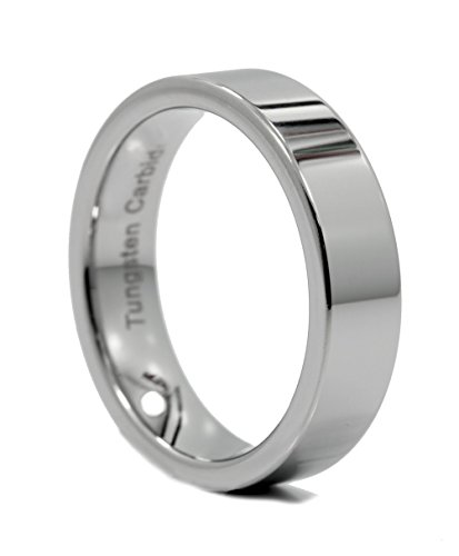 MJ Metals Jewelry 6mm Flat Pipe Cut Tungsten Carbide Wedding Band Mirror Polished Ring Size - Band Flat Tungsten