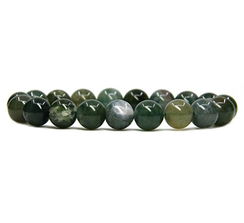 - Amandastone Natural Moss Agate Genuine Semi-Precious Gemstones Healing 10mm Beaded Stretch Bracelet 7