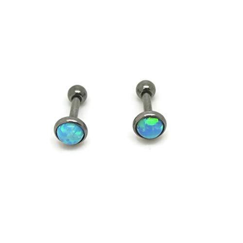 Opal 5 mm, Titanium Hypoallergenic Bezel Stud Earrings, For Sensitive Ears (Blue)
