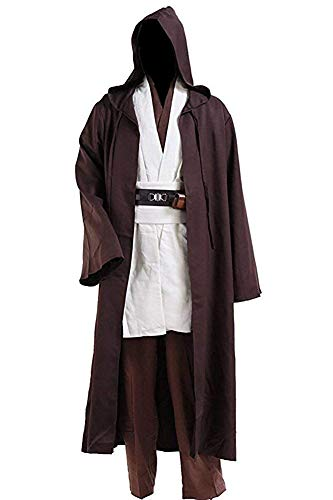 Halloween Tunic Costume Set Cosplay Outfit Brown with White (Medium, White) Adult Jedi Knight Costume