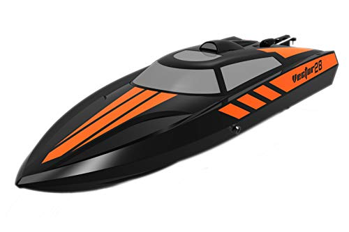 Pool Racer - POCO DIVO 2.4Ghz Vector28 Pool Racer RC 20mph High Speed Boat Radio Control Mini Racing Yacht - Black
