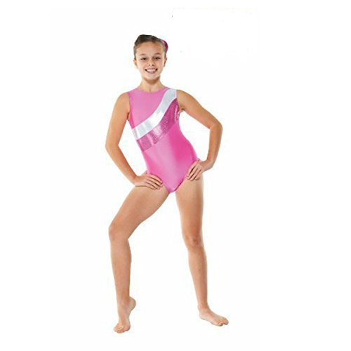 Girls Gymnastics Leotard - Lycra, sleeveless with foil stripes GYM18 (Pink, 11-12 years) by Tappers & Pointers by Tappers & Pointers