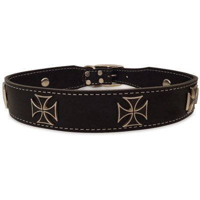 Auburn Leathercrafters Iron Cross Collar, Black, 26 inches (24 inches to 26 inches)