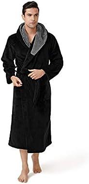 DAVID ARCHY Men's Hooded Coral Fleece Robe Full Length Lounge Bathrobe with 2 Poc