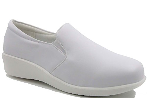 Women's Wide Width Twin Side Gore Round Toe Slip On Comfort Nurse Shoes (Gore Leather Side)