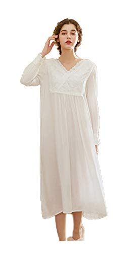Women's Long Puff Sleeve Retro Victorian Cotton White Nightgown Calf-Length Embroidered V Neck Flounce Cuff ()