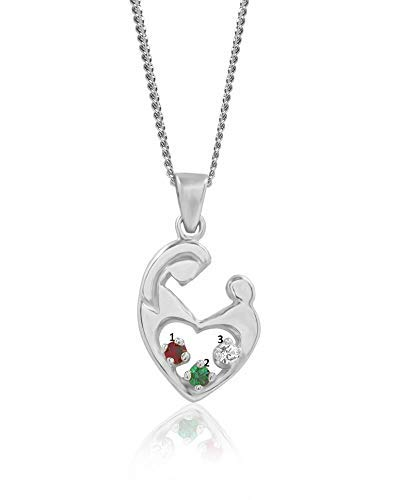 Mother's Embrace Three Birthstone Pendant - Sterling Silver ()