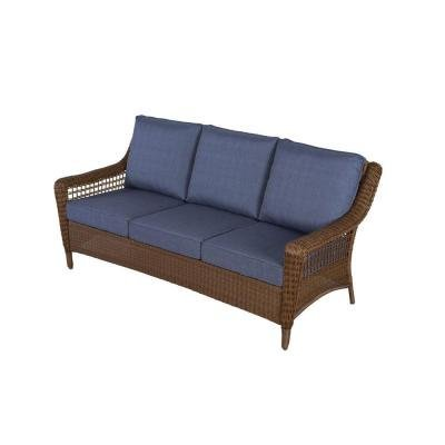 Hampton Bay Spring Haven Brown All-Weather Wicker Patio Sofa with Sky Blue Cushions - Hampton Bay Wicker Furniture