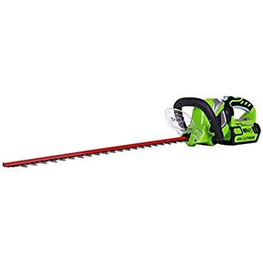 GreenWorks 22262 G-MAX 40V 24-Inch Cordless Hedge Trimmer, 2Ah Battery and Charger