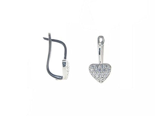 Fronay Co .925 Sterling Silver Sparkling Pave CZ Leverback Heart - Store Glasses Near Me Best