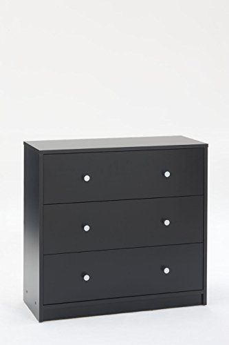 Tvilum 7033286 Portland 3 Drawer Chest, Black