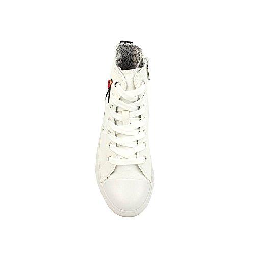 Tissu Logo Ja15443g05je0104c Femme Lacets Love Sneakers Zip Blanc Haute Moschino wqx0BIB