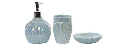 Item Pearl Blue Shell 3 Piece Porcelain Bathroom Accessories Set, Toothbrush Holder or Tumbler, Lotion or Soap Dispenser and Soap Dish