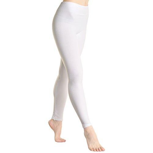 Fleece Lined Leggings, #1401_white,One size fits up to size 12/14 (Footless White Tights)