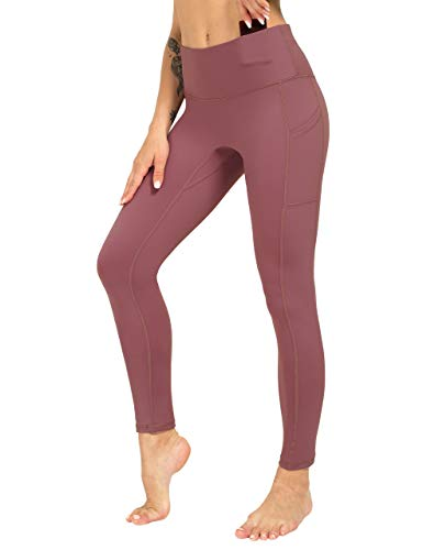 ZIIIIIZ High Waist Yoga Pants for Women Tummy Control Workout Athletic Compression Leggings with Pockets for Women(Purple Pink-XL)
