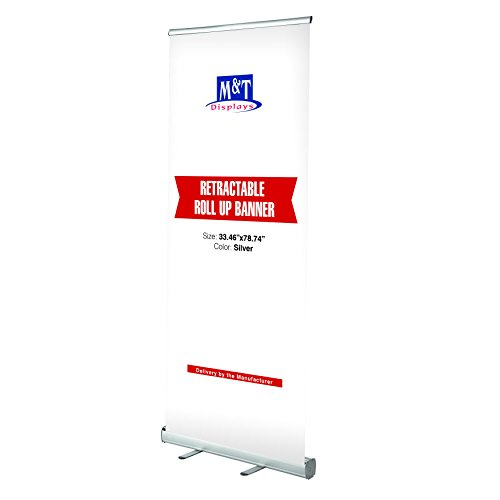 (M&T Displays Retractable Banner Stand, Roll up Portable Banner 33.5