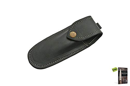 STRAIGHT RAZOR SHEATH Leather Black Carrying Case for Shaving Carbon Sharp Blade Snap Button Knife + Free eBook by SURVIVAL STEEL ()