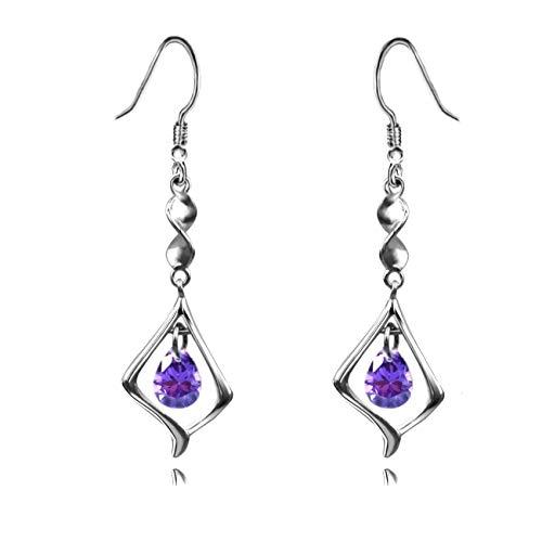 (Purple Gemstone Gold Plate 925 Sterling Silver Drop Earrings for women)