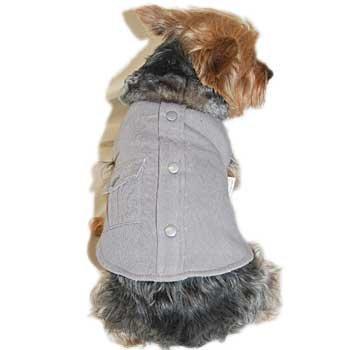 Anima Grey Faux Fur Collar Cotton Coat, Velcro Closure, Medium, My Pet Supplies