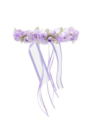 WonderfulDress Multi Flower Floral Crown-Lavender-One Size