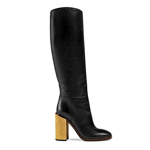 Gucci Women's Black Leather Gold Heel Knee High Boots Shoes, 7.5, Black - Gucci High Heel Shoes