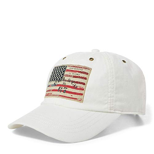 Polo Ralph Lauren Men`s Leather Strap Embroidered Chino Baseball Cap (White(1003)/Navy, One ()