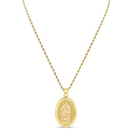 Men Women Gold Finish Virgin Mother Mary Stainless Steel Pendant 24