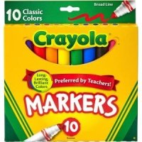 Crayola 10Ct Classic Broad Line Markers  3 Pack