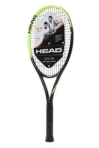 HEAD Tour Pro Tennis Racket – Pre-Strung Head Light Balance 27 Inch Racquet – 4 1/2 In Grip, Yellow