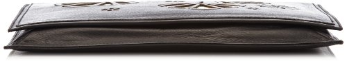 kaviar gauche Lasercut Clutch T103_grey Damen Clutches 32x25x2 cm (B x H x T) Schwarz (Black/Gold) fOBTR