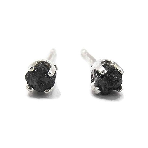 Sterling Silver Rough Black Diamond Stud Earrings