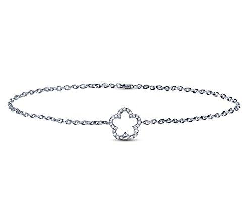 Or Blanc 18 ct Bracelet Diamant en forme de fleur, 0.06 Ct Diamant, GH-SI, 2.2 grammes.