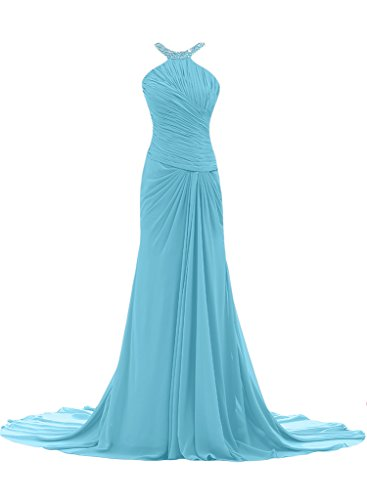 ivyd ressing Mujer Elegante Funda de línea croma gasa Prom vestido pelota para vestido de noche Azul