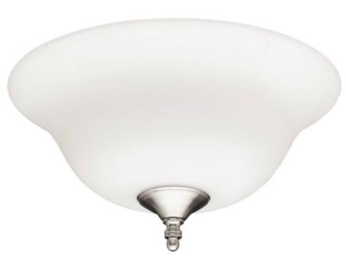 Hunter Fan 28592 12-Inch Bowl Light with Frosted Opal, White, Brushed Nickel Finish